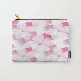 Pink White Flowers Carry-All Pouch