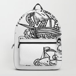 Kraken Attacking Ship Tattoo Grayscale Backpack