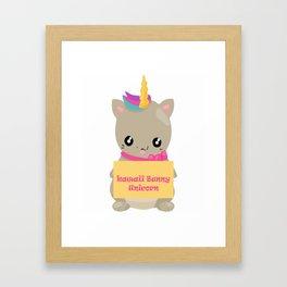 kawaii bunny unicorn Framed Art Print