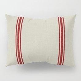 Berry Red stripes on Linen color French Grainsack digital design Pillow Sham
