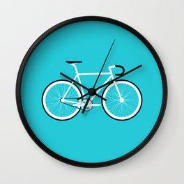 Turquoise Fixed Gear Road Bike Wall Clock