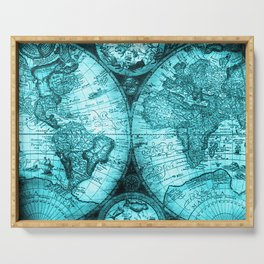Turquoise Antique World Map Serving Tray