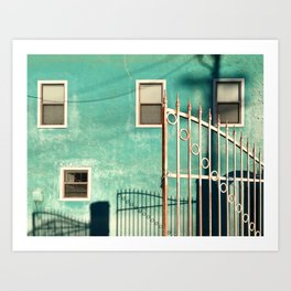 Gate, Shadows and a Colorful Building Art Print