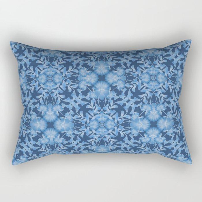 Blue floral ornament. Rectangular Pillow