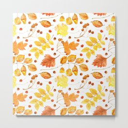 Watercolor autumn leaves seamless pattern on white background. Maple leave, hawthorn leave, birch le Metal Print