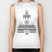 whisky Biker Tanks featuring WHISKY AZTEC B/W  by Kiley Victoria
