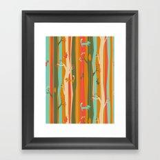 Woodland Stripe Orange Framed Art Print