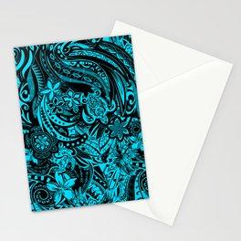 Hawaiian - Samoan - Polynesian Teal Tribal Threads Stationery Cards