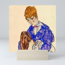 "Egon Schiele ""Portrait of the Artist's Wife Seated, Holding Her Right Leg"" Mini Art Print"