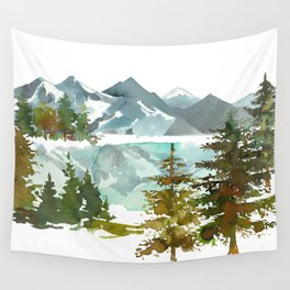 Forest green teal blue watercolor hand painted landscape Wall Tapestry