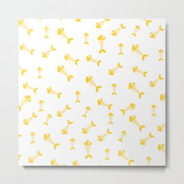 Yellow fishbone pattern Metal Print