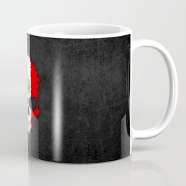 Flag of Peru on a Chaotic Splatter Skull Coffee Mug