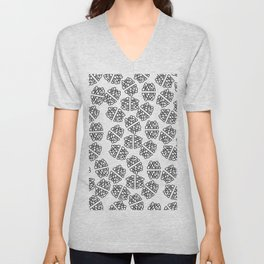 Abstract hand painted modern black geometrical pattern Unisex V-Neck
