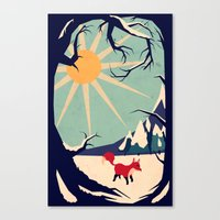 yetiland Canvas Prints featuring Fox roaming around II by Yetiland