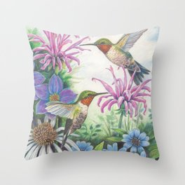 Hummingbird and Bergamot Throw Pillow