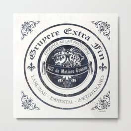 Indigo Vintage Cheese Label 3 Metal Print