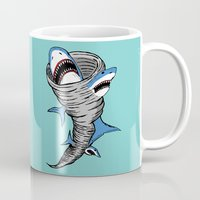 gore Mugs featuring Shark Tornado by JARHUMOR