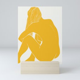 Nude in yellow summer Mini Art Print