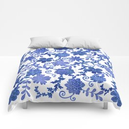 Floral China Blue Watercolor Pattern Comforters