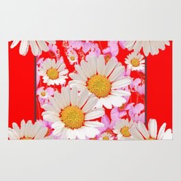 MODERN  DAISY FLOWER  RED ABSTRACT ART DESIGN Rug