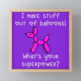 Balloon Dog Superpower Framed Mini Art Print
