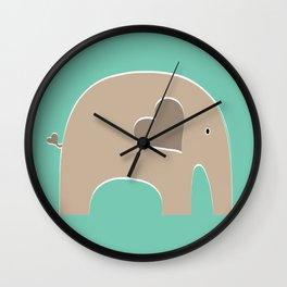 Turquoise Safari Elephant Wall Clock