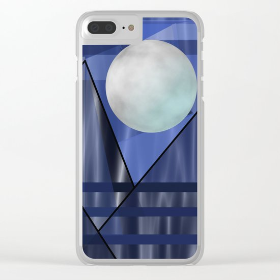 Moon Over The Mountains Clear iPhone Case