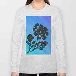 Rose Silhouette with Painted Blue Background Long Sleeve T-shirt