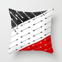 Red black , white pattern Boom 2 . Throw Pillow