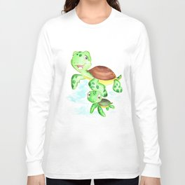 turtle baby and mom, nautical wall decor, ocean themed nursery, sea turtle, sea animals watercolor Long Sleeve T-shirt