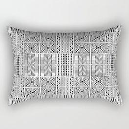 Black and White Geometric Hawaiian Kapa Cloth Rectangular Pillow