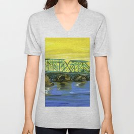 New Hope-Lambertville Bridge Unisex V-Neck