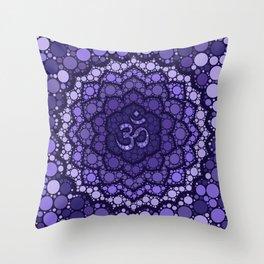 OM Symbol - Dot Art - purple palette Throw Pillow