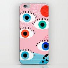 Noob - eyes memphis retro throwback 1980s 80s style neon art print pop art retro vintage minimal iPhone Skin