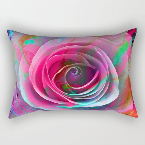 Marble Colored Rose Rectangular Pillow