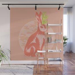 Beautiful peach Jackalope art print by Lissette Guerra Wall Mural