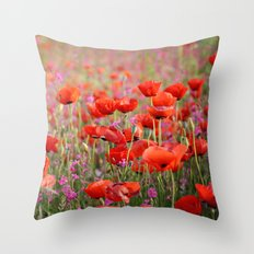 Poppies in Spring Throw Pillow