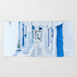 MyKonos Greece Watercolor Digital Painting Beach Towel
