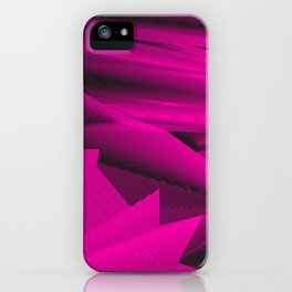 Psychedelic foil pink landscap with stylised mountains, sea and Sun. iPhone Case
