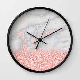 Sparkly Pink Rose Gold Glitter Ombre Bohemian Marble Wall Clock