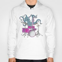 drums Hoodies featuring Octopus Playing Drums - Blue by Ornaart