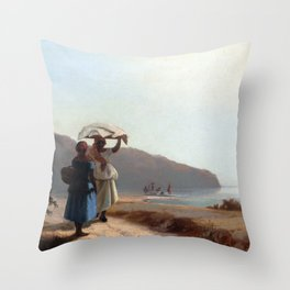 Camille Pissarro Two Women Chatting by the Sea, St. Thomas Throw Pillow