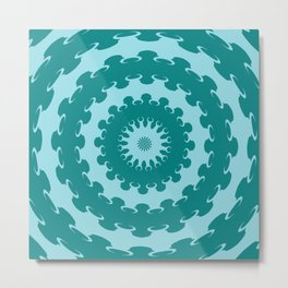 Tanager Turquoise and Teal Blue Crescent Moon Kaleidoscope Metal Print