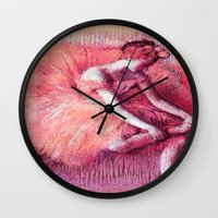 degas Wall Clocks featuring Ballerina Peach by PureVintageLove