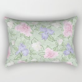 Flower Play Pink Lavender Green Antique Look Rectangular Pillow