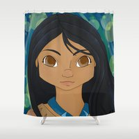 pocahontas Shower Curtains featuring Pocahontas by PTElephant