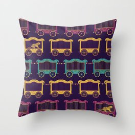 Colourful Circus Carriages Throw Pillow