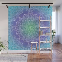 White Lace Mandala in Blue, Green and Purple Wall Mural