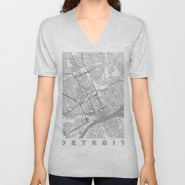 Detroit Map Line Unisex V-Neck