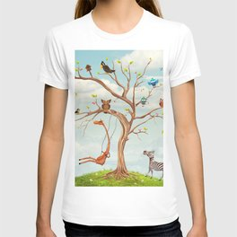 Tree with animals.Bunch of cute little creatures gathered on the branches of tree T-shirt